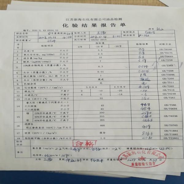 江苏新海石化有限公司供应柴油0#国五普柴5000吨